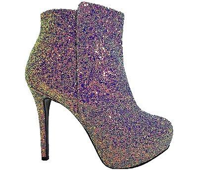 Bota Feminina Salto Alto Glitter Furtacor Numeração Especial Cód 28