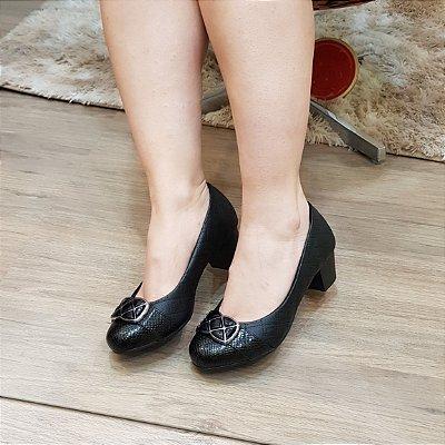 Sapato Salto Medio Grosso Feminino Numeros Especiais Preto 384391A 471