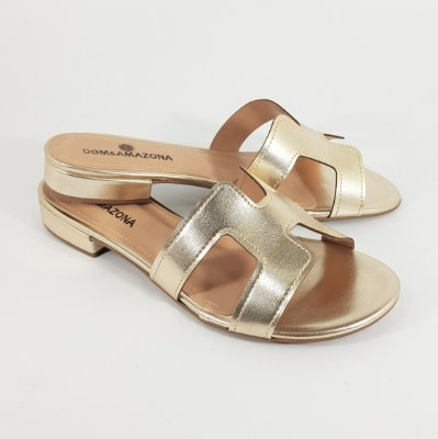 Chinelo Feminino Rasteira Slide Dom Amazona Ouro Light Cód 489