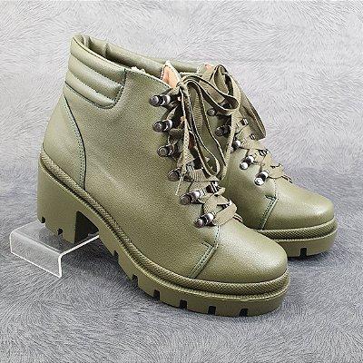 Bota Coturno Tratorada Militar Dom Amazona Salto Médio Verde 174909