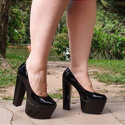 Sapato Feminino Salto Alto Grosso 1310117 Verniz Preto Cd43