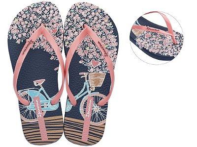 Chinelo Ipanema Mari 25601 Azul Rosa Desenho de Bicicleta