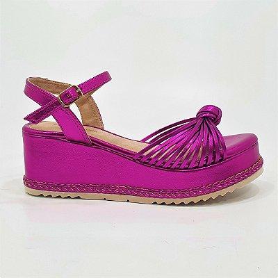 Sandália Anabela Flatform Dom Amazona Números Grandes Pink 485057A