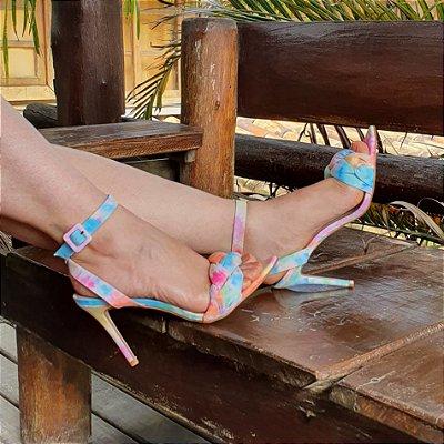 Sandália Feminina Salto Alto Tie Dye Trança Moda Tendencia 1550998