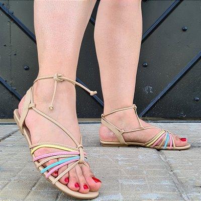 Sandália Rasteira Dom Amazona Números Grandes Tiras Candy Colors 23134