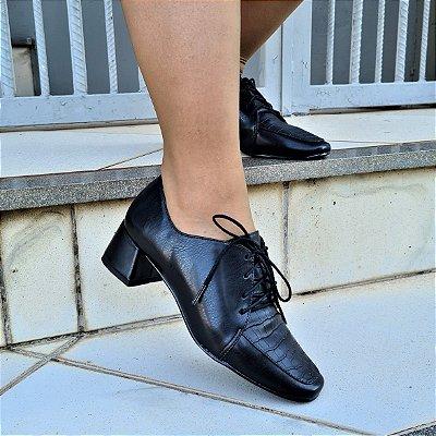 Sapato Feminino Oxford Salto Grosso Dom&amazona Preto 1860941