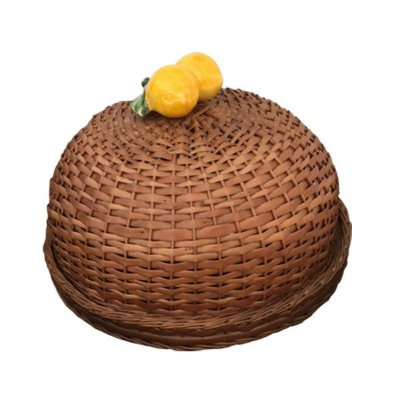 Boleira De Vime Natural Porcelana Limão Sciliano