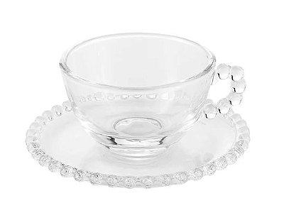 Xícara de Chá Cristal Bolinha (SET DE 4)