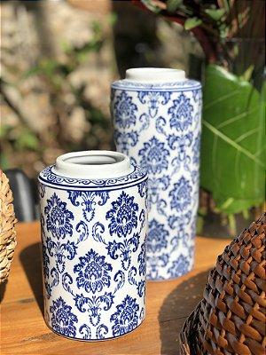 Potiche Decor Porcelana Azul P
