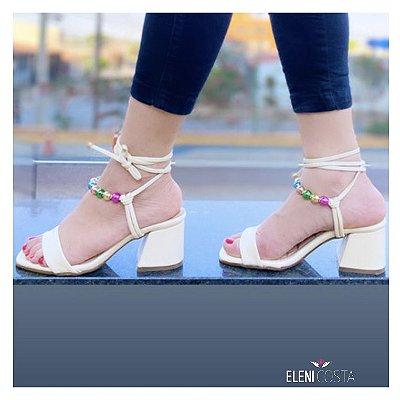 Sandália Salto Bloco Médio com Bolinhas Coloridas