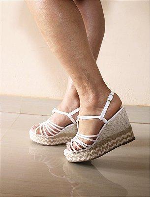 Sandália Salto Anabela - Detalhe Trançado