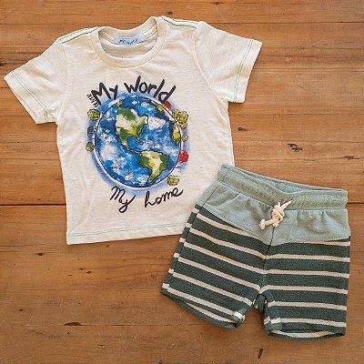 Conjunto Camiseta e Bermuda My World Oliver Tamanho 1