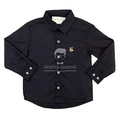 Camisa Lisa Tricoline Preto Dame Dos tamanho 1