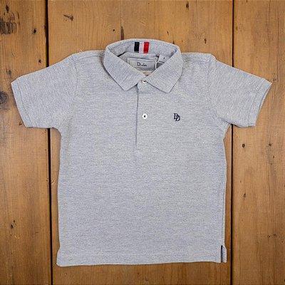Camisa Polo Cinza Manga Curta Dudes Tamanhos 3 e 8