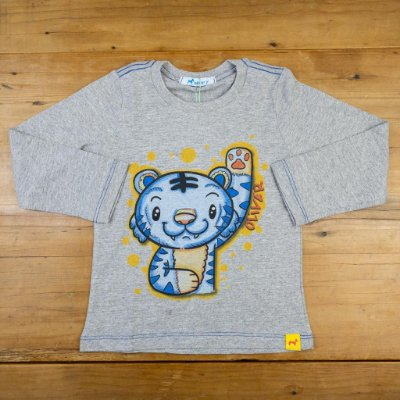 Camiseta Manga Longa Tigre Azul Oliver Tamanhos 1 e 3