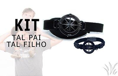 Kit Tal Pai Tal Filho Pulseira De Couro Com Pingente Igual