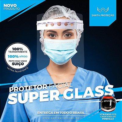 KIT 01 -  Protetor Facial Superglass Convencional Completo + 3 Visores Extras - Cor Branca