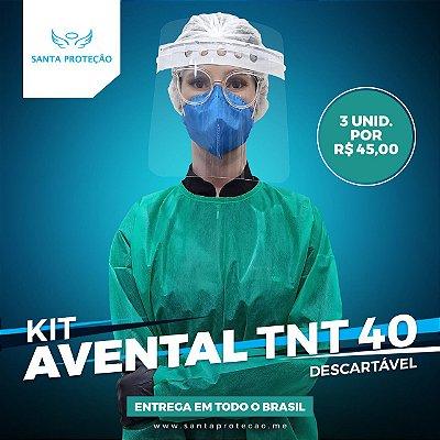 KIT com 3 Aventais em Tnt 40g - Verde