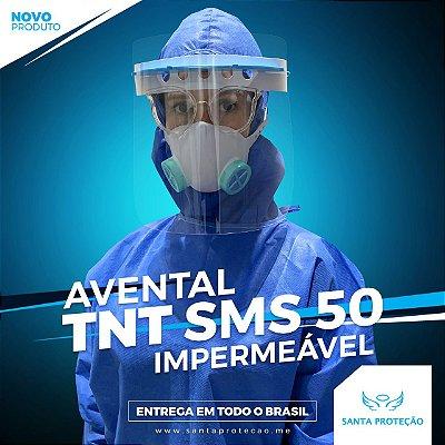 AVENTAL EM TNT SMS 50G - IMPERMEÁVEL