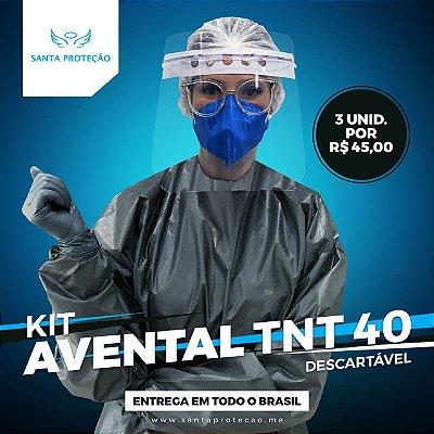 KIT com 3 Aventais em Tnt 40g - Preto