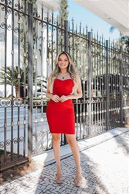 Vestido de Bandagem Curto Vermelho