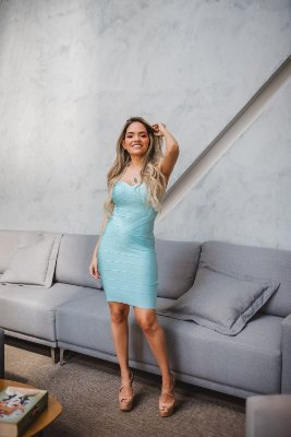 Vestido de Bandagem Curto Azul