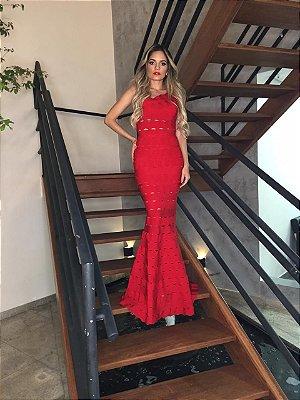 Vestido de Bandagem Zamar Longo Vermelho