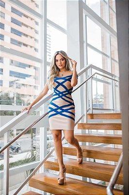 Vestido de Bandagem Zamar Curto Listrado Azul