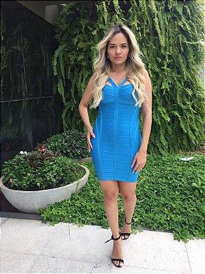 Vestido Bandage Curto Azul Céu