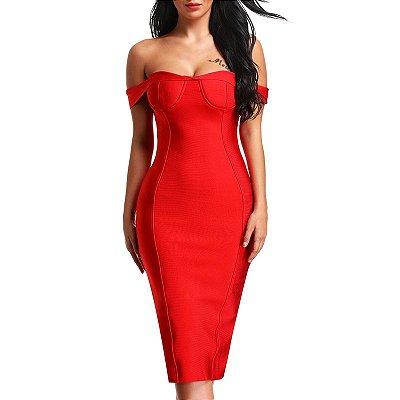 Vestido de Bandagem Midi Vermelho