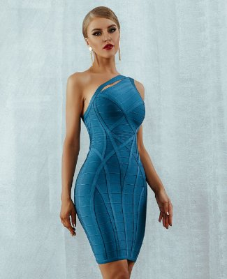 Vestido Bandage Azul Curto