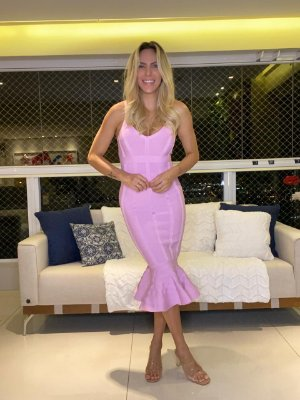 Vestido Bandage Rosa Andressa Midi