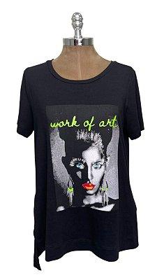 T-shirt Estampa Neon Art Preta