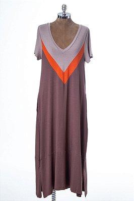 Vestido Amplo Malha Confort Recorte V Capuccino