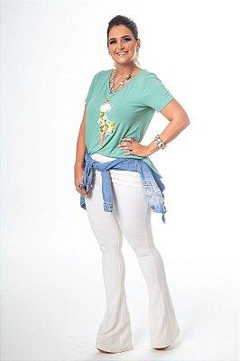 T-Shirt Menta Limon Estampa Boneca Vestido Floral