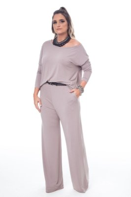Conjunto Pantalona Malha Confort Blusa Ampla Kaqui