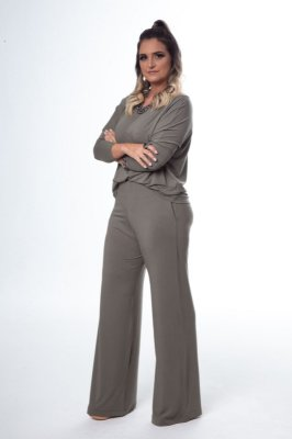 Conjunto Pantalona Malha Confort Blusa Ampla Verde Militar