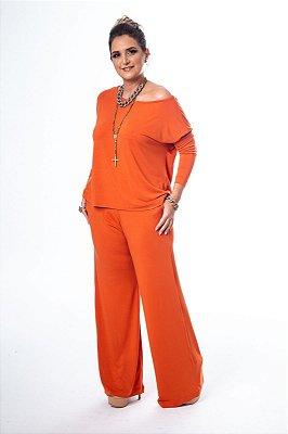 Conjunto Pantalona Malha Confort Blusa Ampla Telha