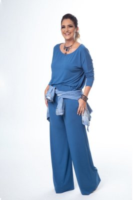 Conjunto Pantalona Malha Confort Blusa Ampla Blue Jeans