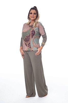 Conjunto Pantalona Malha Verde Militar Estampa Onça e Corrente