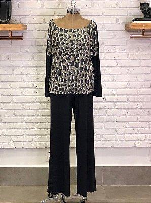 Conjunto Pantalona Preto Estampa Onça