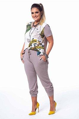 Conjunto Jogger Kaqui T-shirt Estampa Floral Color