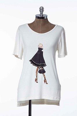 T-shirt Off White Aplicação Patch Casaco Bordado