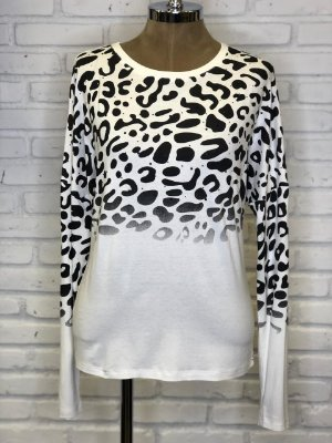 Blusa Malha Ampla Animal Print Off White