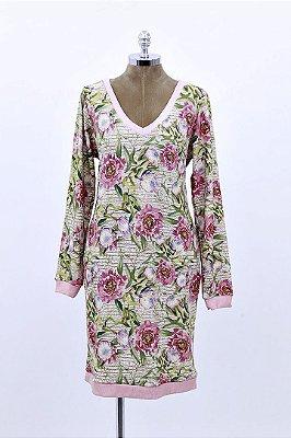 Vestido Curto Moletinho Palha Floral
