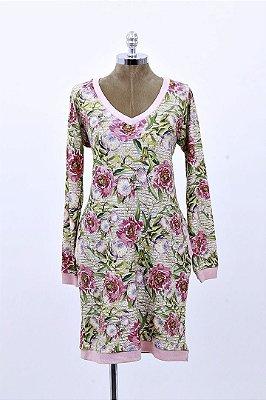 Vestido Curto Moletinho Palha Floral Aplicação Pedraria
