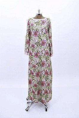 Vestido Moletinho Longo Palha Floral