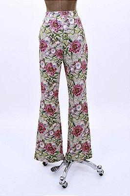 Calça Moletinho Palha Floral