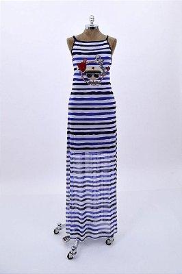 Vestido Tule Longo Marinheiro com Aplicação