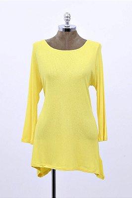 Blusa Canelada Ampla Básica Amarela